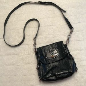 GUESS black leather crossbody purse